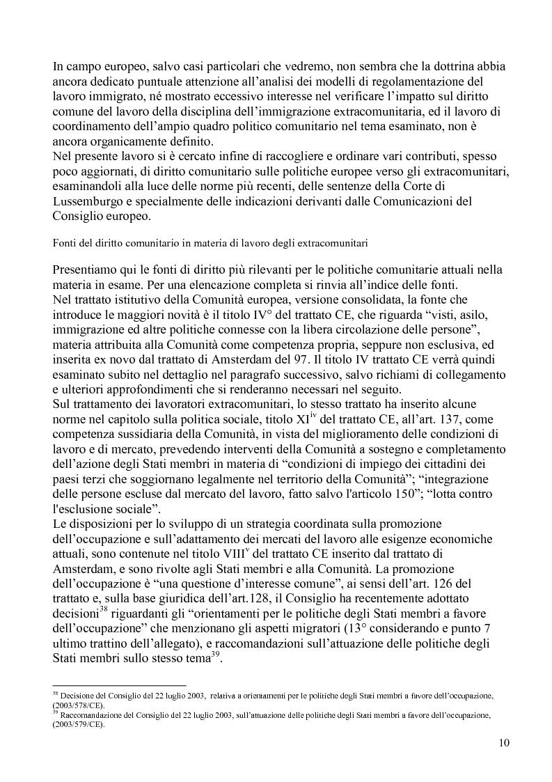 Anteprima della tesi: La politica comunitaria in materia di lavoro degli extracomunitari, Pagina 7