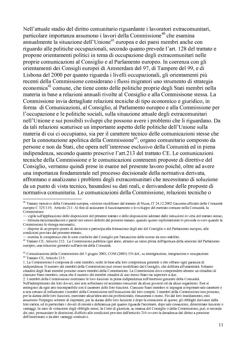 Anteprima della tesi: La politica comunitaria in materia di lavoro degli extracomunitari, Pagina 8
