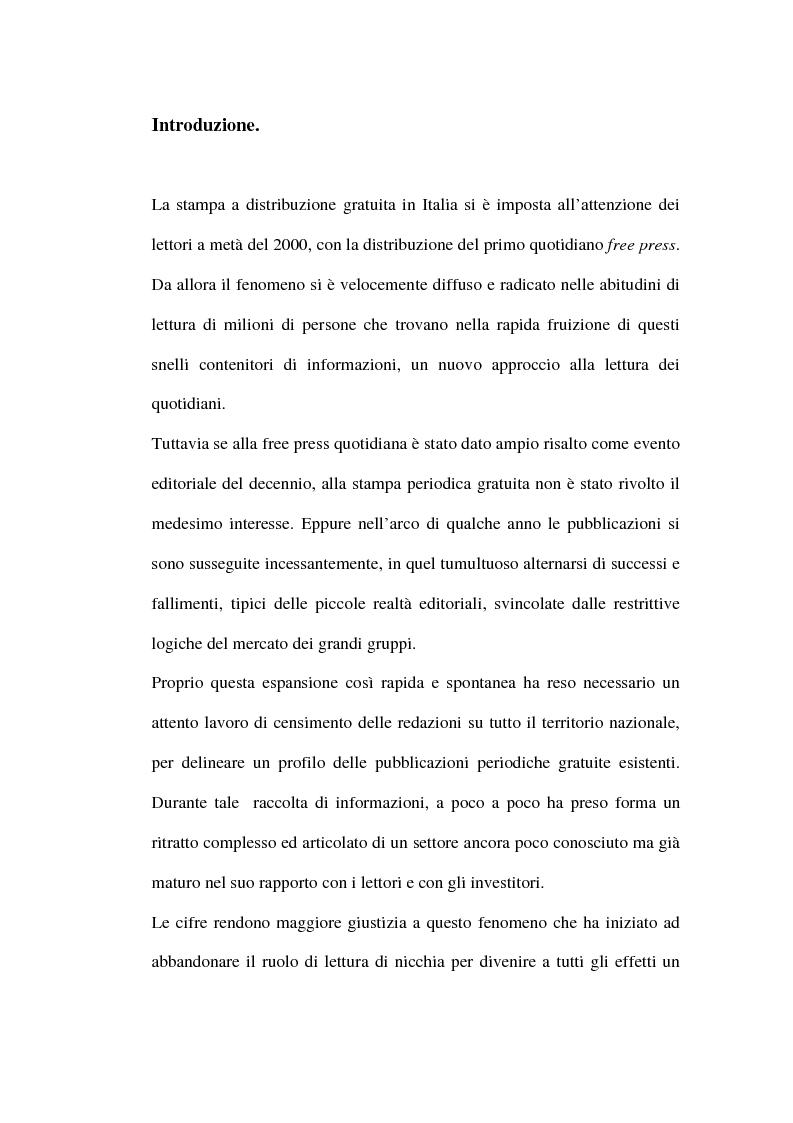 Anteprima della tesi: Le riviste periodiche a distribuzione gratuita, Pagina 1