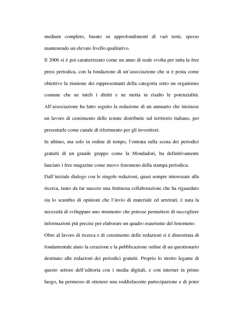 Anteprima della tesi: Le riviste periodiche a distribuzione gratuita, Pagina 2