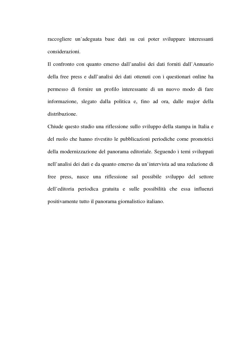 Anteprima della tesi: Le riviste periodiche a distribuzione gratuita, Pagina 3