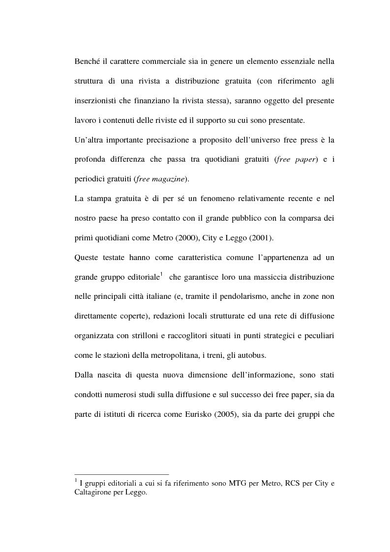 Anteprima della tesi: Le riviste periodiche a distribuzione gratuita, Pagina 5