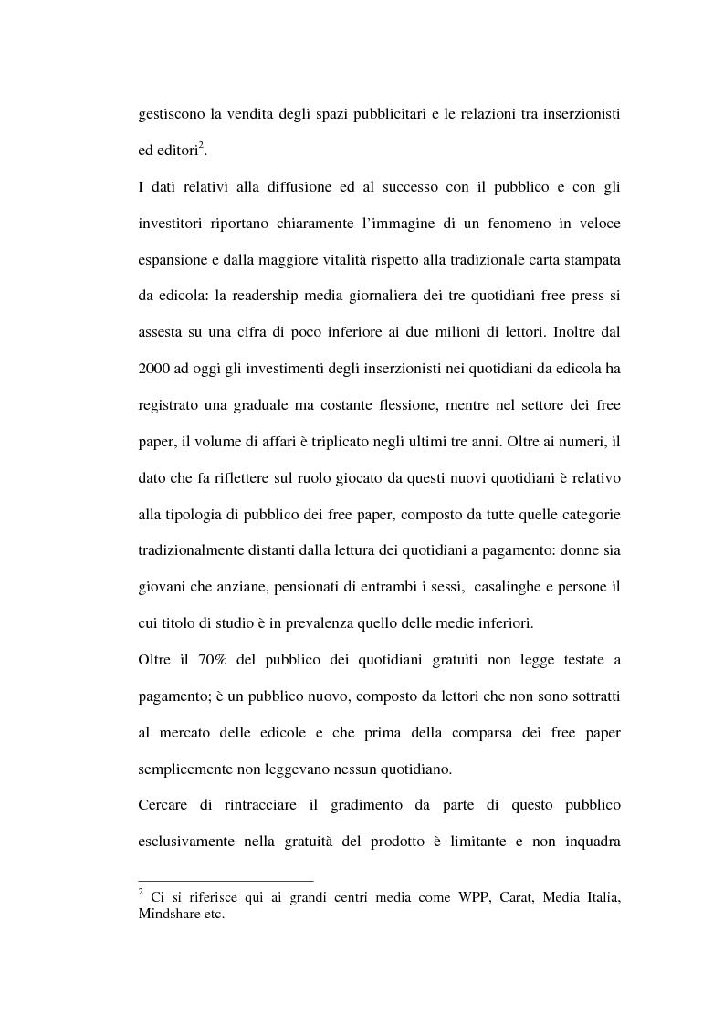 Anteprima della tesi: Le riviste periodiche a distribuzione gratuita, Pagina 6