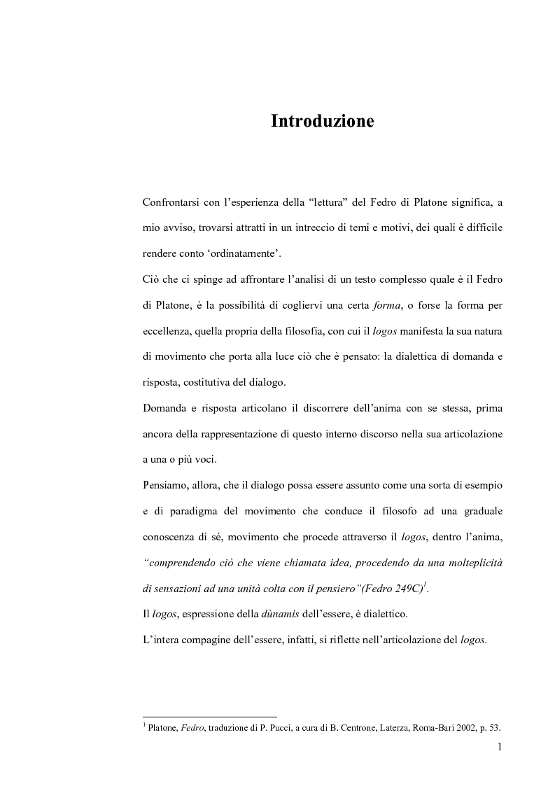 Anteprima della tesi: Forma dialogica e dialettica nel Fedro, Pagina 1