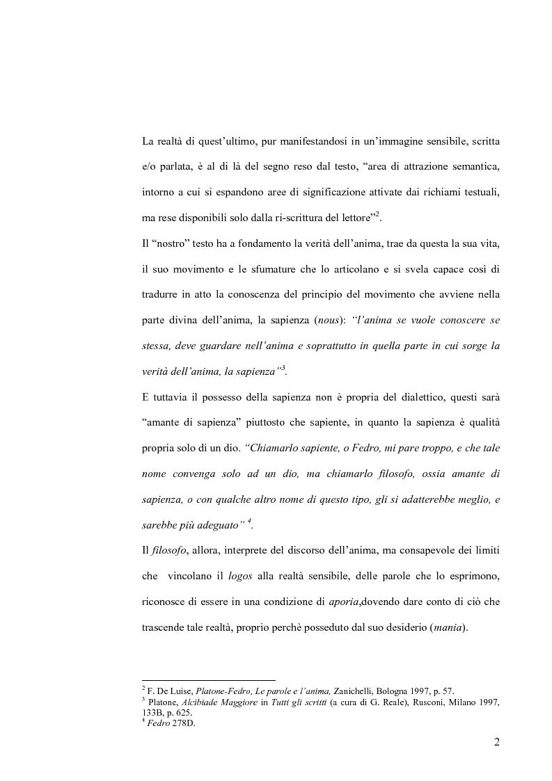 Anteprima della tesi: Forma dialogica e dialettica nel Fedro, Pagina 2