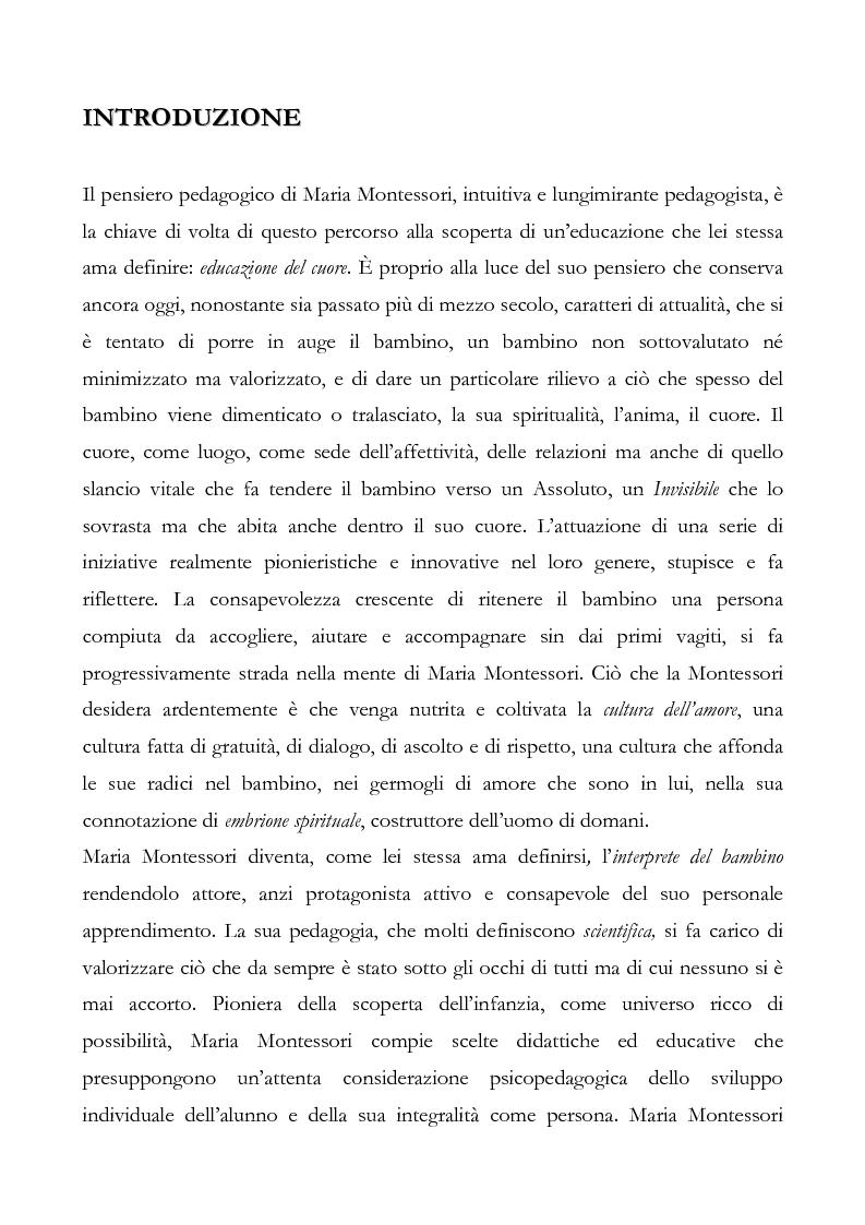 Anteprima della tesi: L'educazione del cuore nel pensiero pedagogico di Maria Montessori, Pagina 1