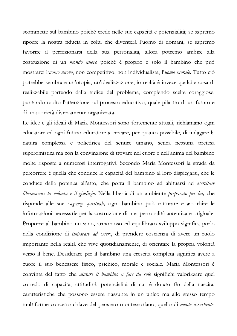 Anteprima della tesi: L'educazione del cuore nel pensiero pedagogico di Maria Montessori, Pagina 2