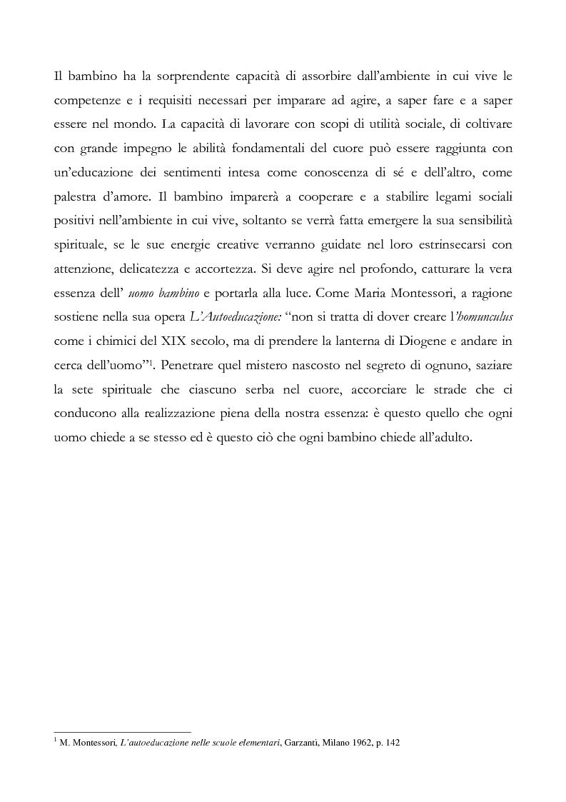 Anteprima della tesi: L'educazione del cuore nel pensiero pedagogico di Maria Montessori, Pagina 3