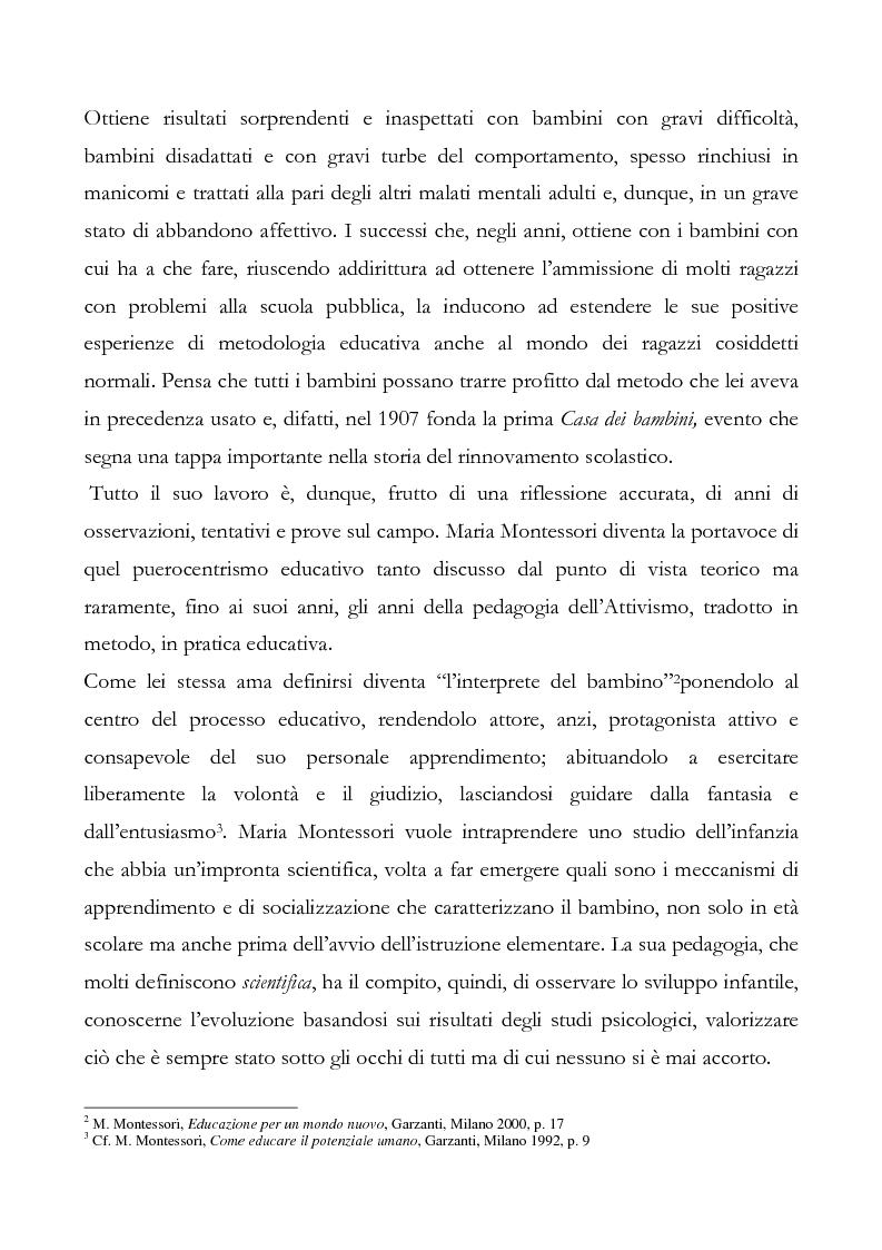 Anteprima della tesi: L'educazione del cuore nel pensiero pedagogico di Maria Montessori, Pagina 5
