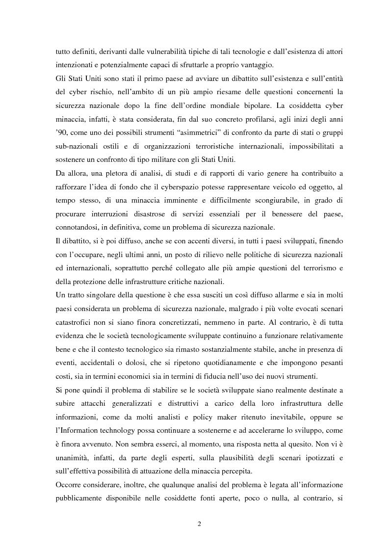 Anteprima della tesi: La sicurezza del cyberspazio: analisi e considerazioni, Pagina 2