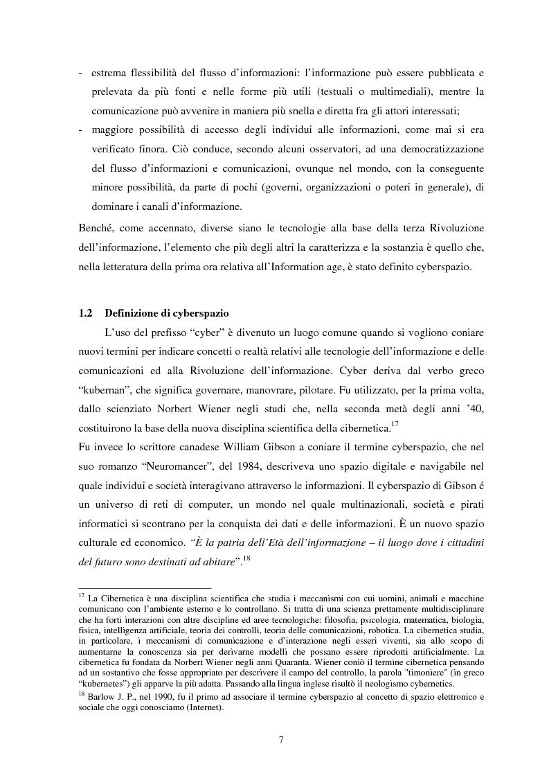 Anteprima della tesi: La sicurezza del cyberspazio: analisi e considerazioni, Pagina 7