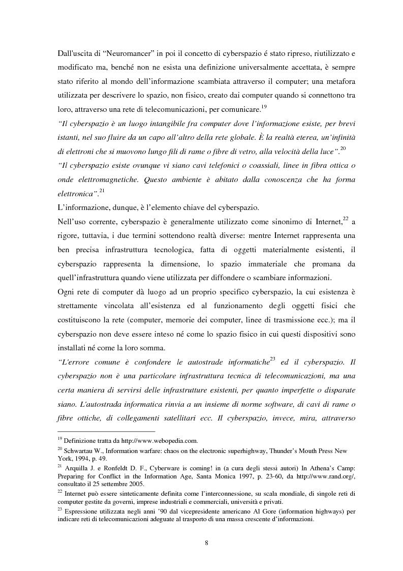 Anteprima della tesi: La sicurezza del cyberspazio: analisi e considerazioni, Pagina 8