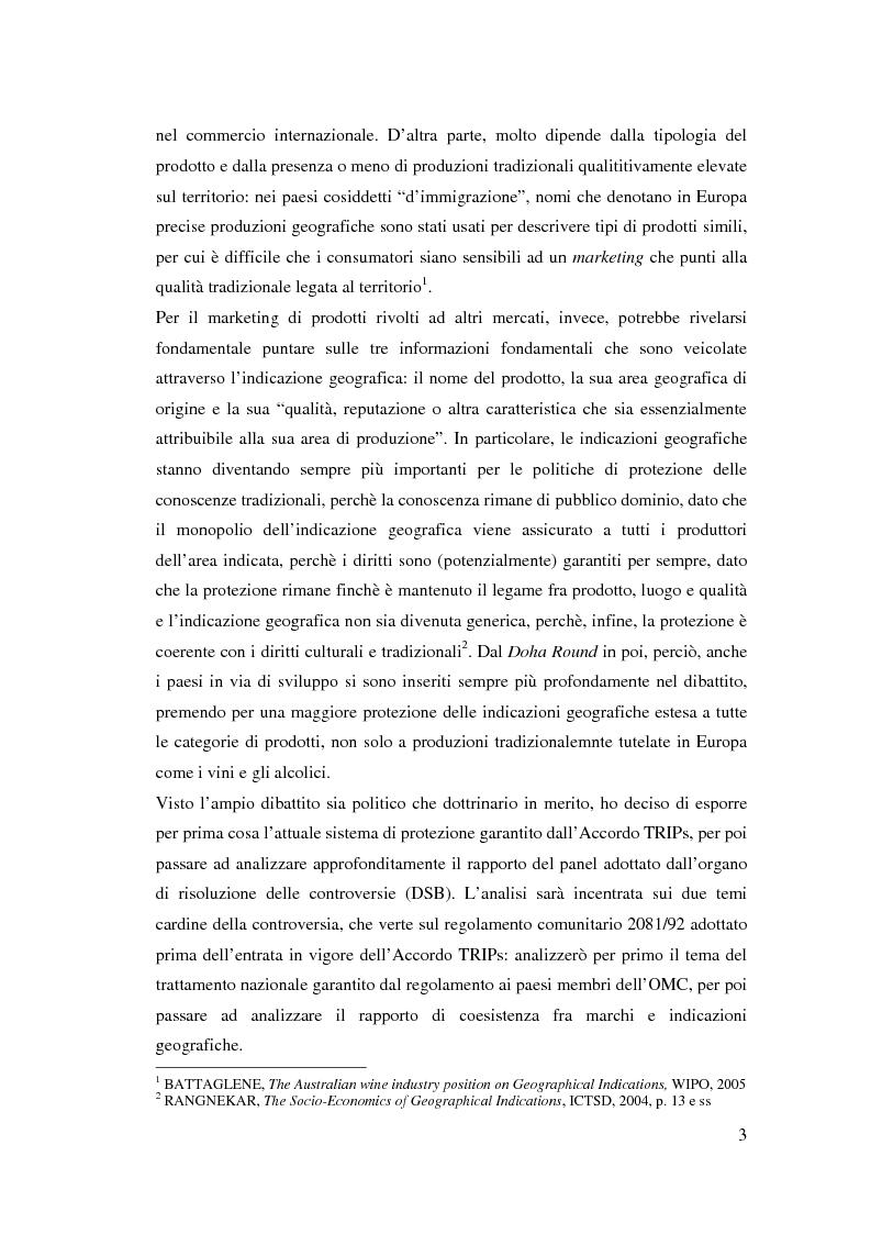 Anteprima della tesi: I marchi e le indicazioni geografiche per i prodotti agricoli di fronte all'organo per la soluzione delle controversie dell'OMC, Pagina 2