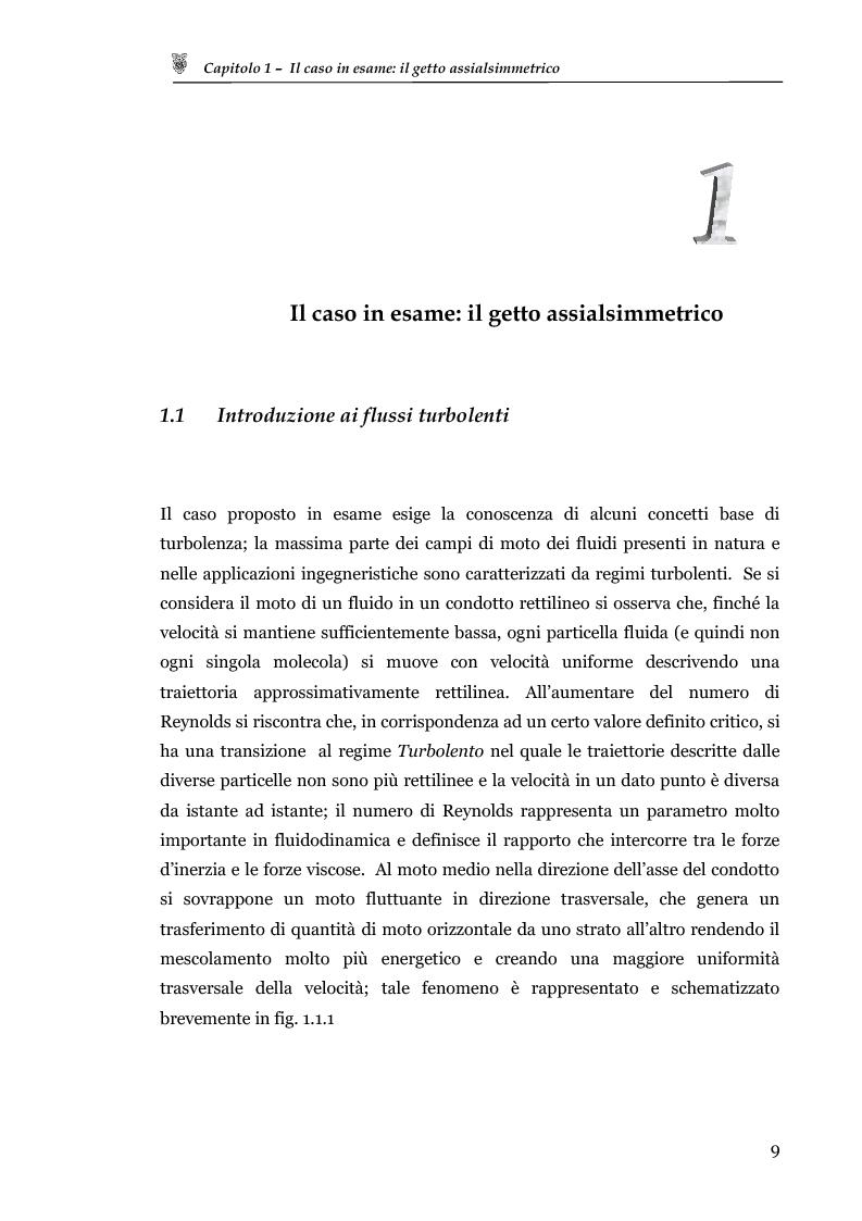 Anteprima della tesi: Studio sperimentale del campo di velocità in uscita da un getto turbolento, Pagina 1
