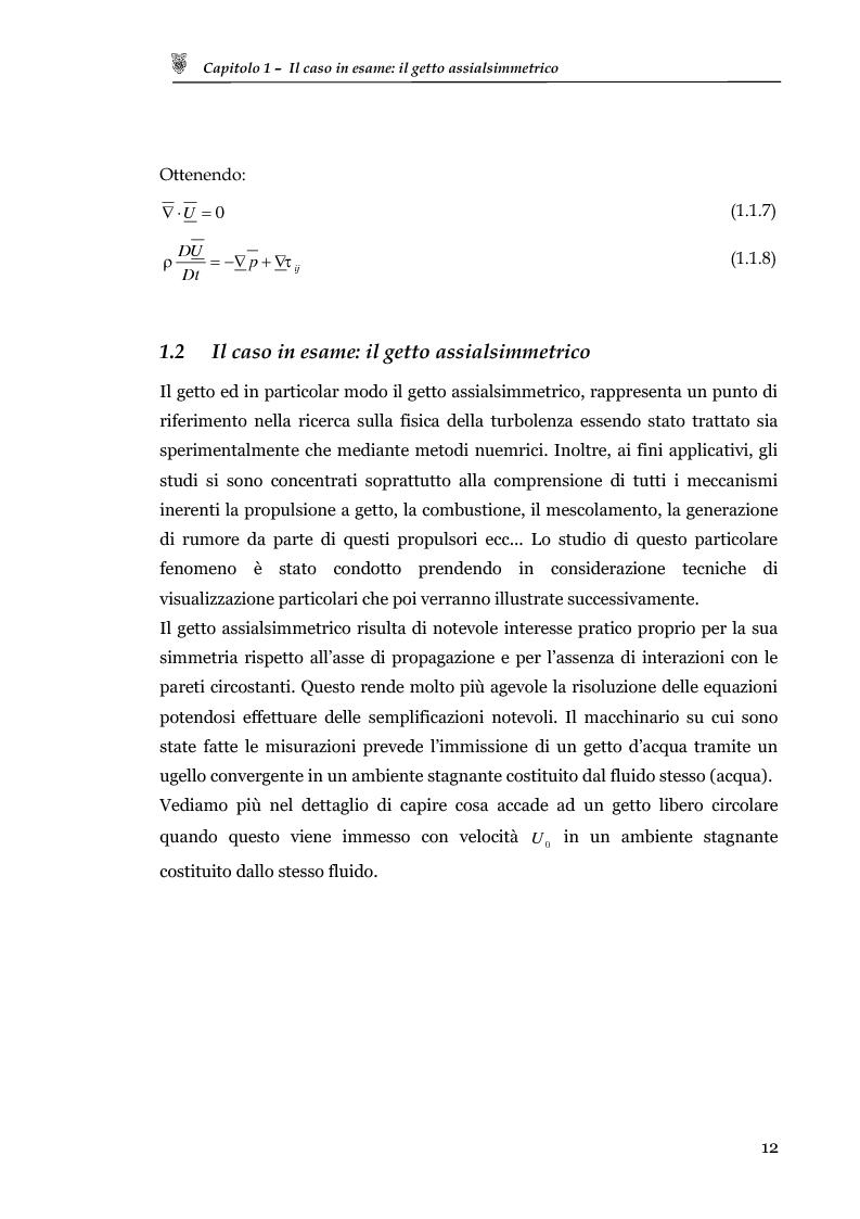 Anteprima della tesi: Studio sperimentale del campo di velocità in uscita da un getto turbolento, Pagina 4