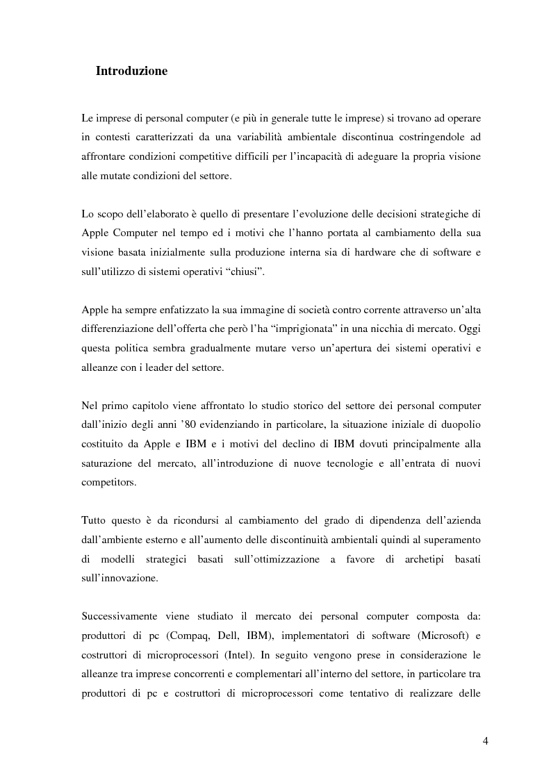 Anteprima della tesi: L'evoluzione della strategia di Apple Computer, Pagina 1