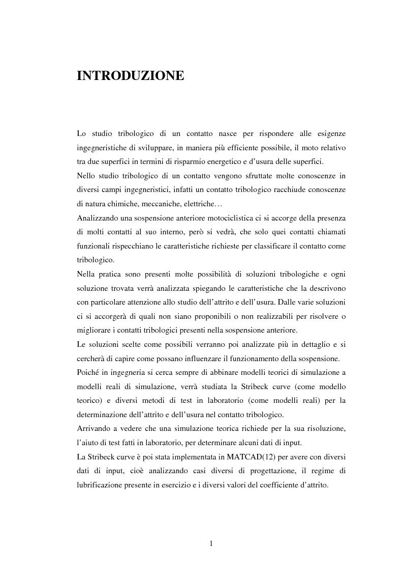 Anteprima della tesi: Problematiche nella caratterizzazione tribologica delle superfici funzionanti di contatto in una sospensione motociclistica, Pagina 1