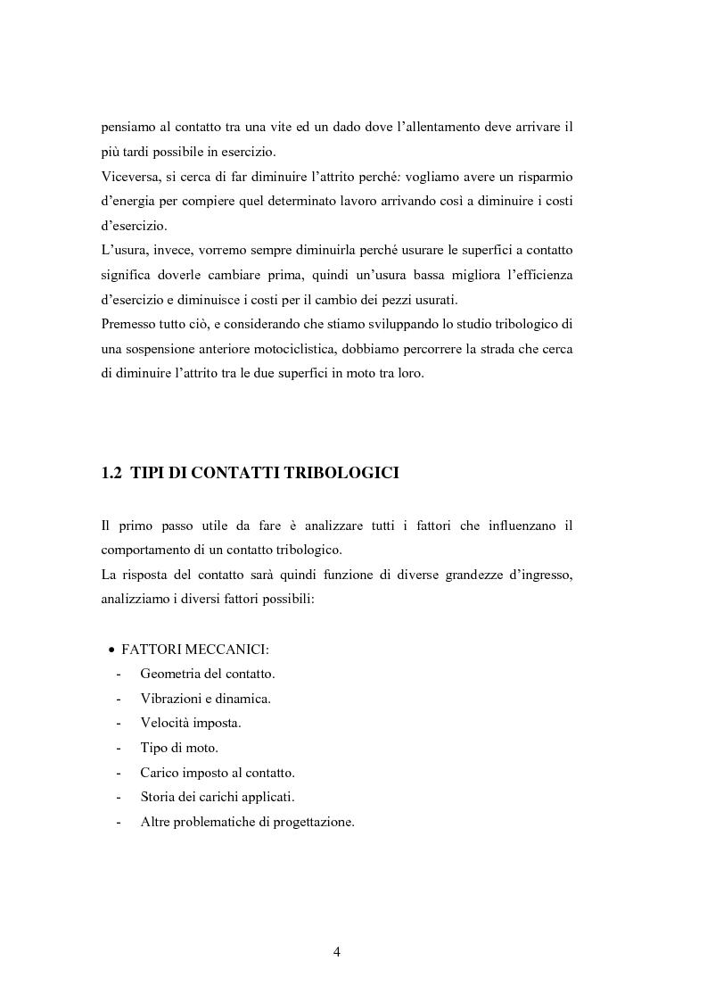 Anteprima della tesi: Problematiche nella caratterizzazione tribologica delle superfici funzionanti di contatto in una sospensione motociclistica, Pagina 3