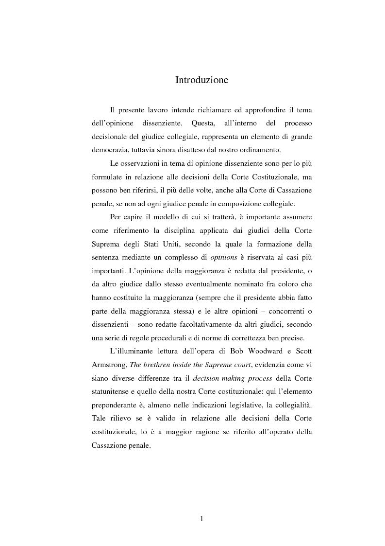 Anteprima della tesi: Dissenso e processo penale con giuria. Il ruolo del giudice dissenziente nel sistema processuale interno e di common law, Pagina 1