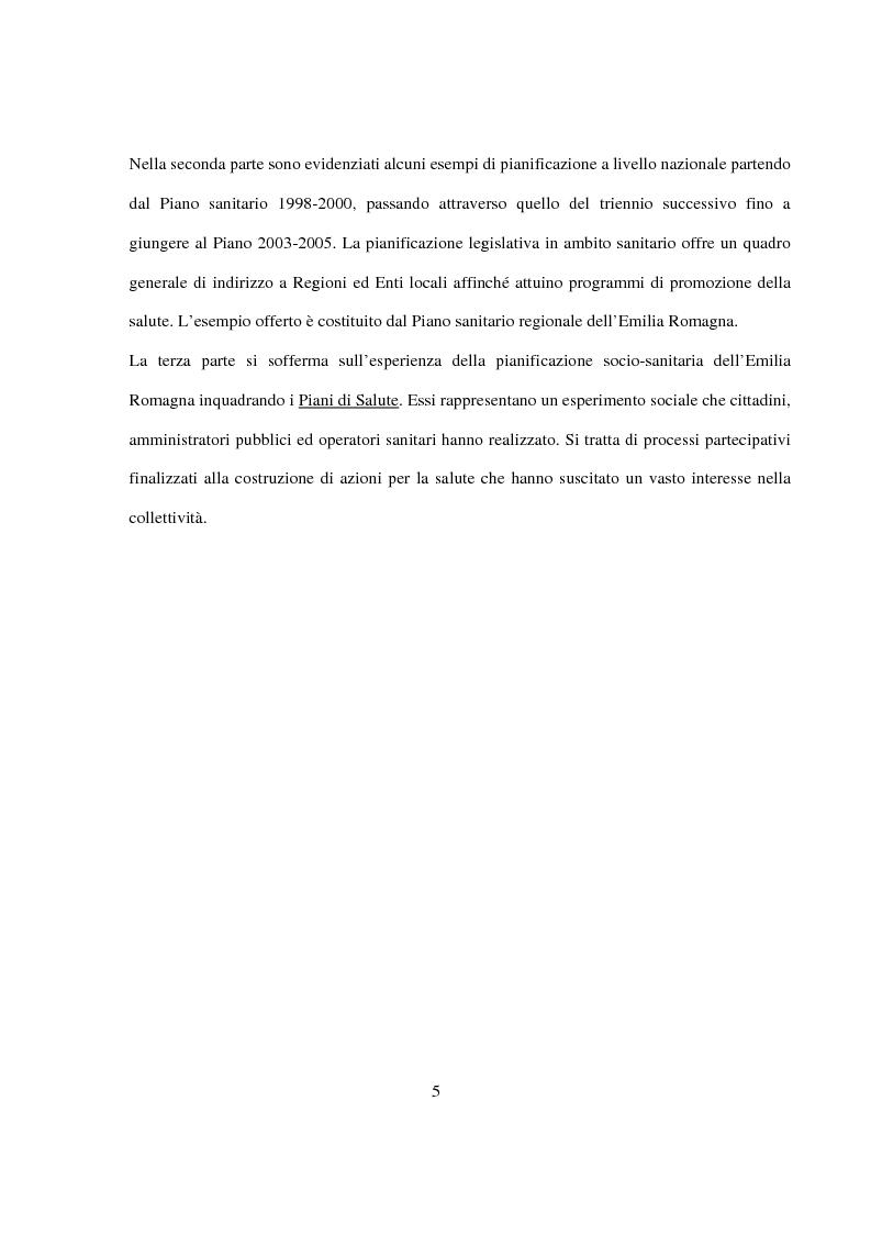 Anteprima della tesi: La Pianificazione Sanitaria in Emilia Romagna: I Piani per la salute e la priorità della sicurezza stradale, Pagina 2