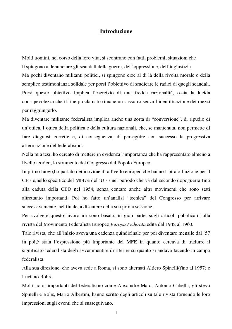 Anteprima della tesi: Il congresso del Popolo Europeo sulle pagine di Europa Federata, Pagina 1
