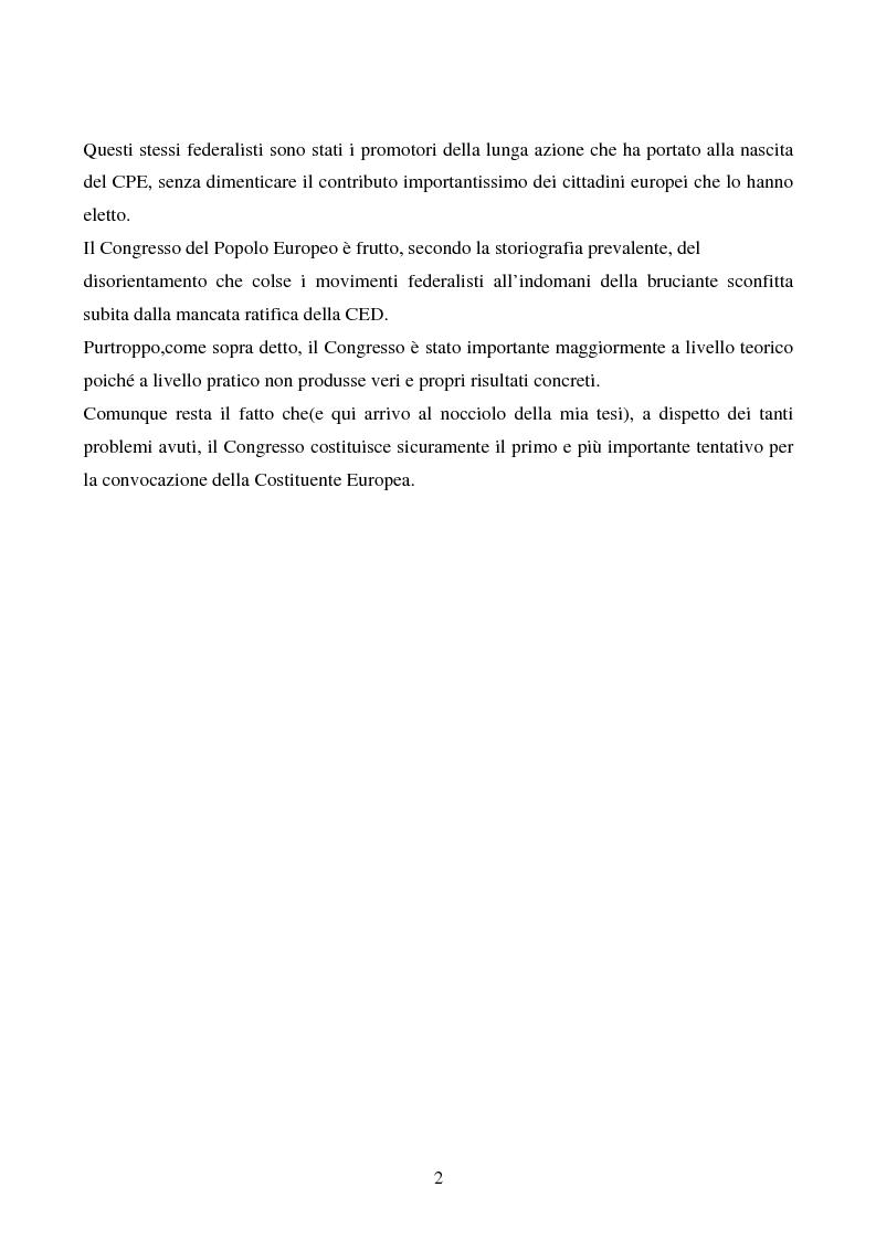 Anteprima della tesi: Il congresso del Popolo Europeo sulle pagine di Europa Federata, Pagina 2