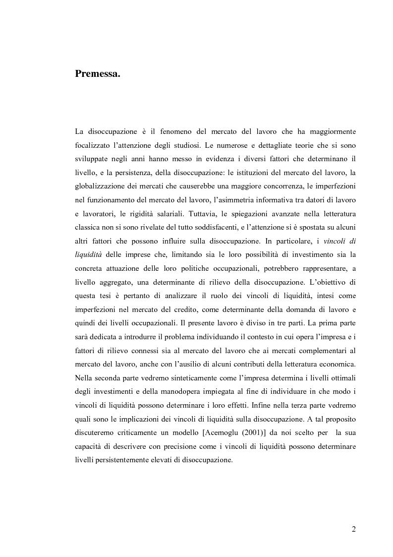 Anteprima della tesi: Vincoli di liquidità, investimenti e domanda di lavoro, Pagina 1