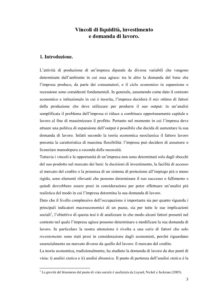 Anteprima della tesi: Vincoli di liquidità, investimenti e domanda di lavoro, Pagina 2