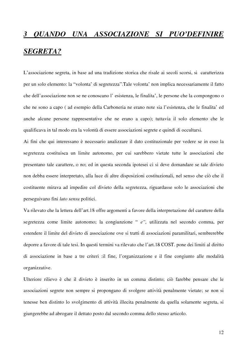 Anteprima della tesi: Associazioni segrete: lineamenti penali (Loggia P2 - Golpe Borghese - Gladio - Archivio Mitrokhin), Pagina 10