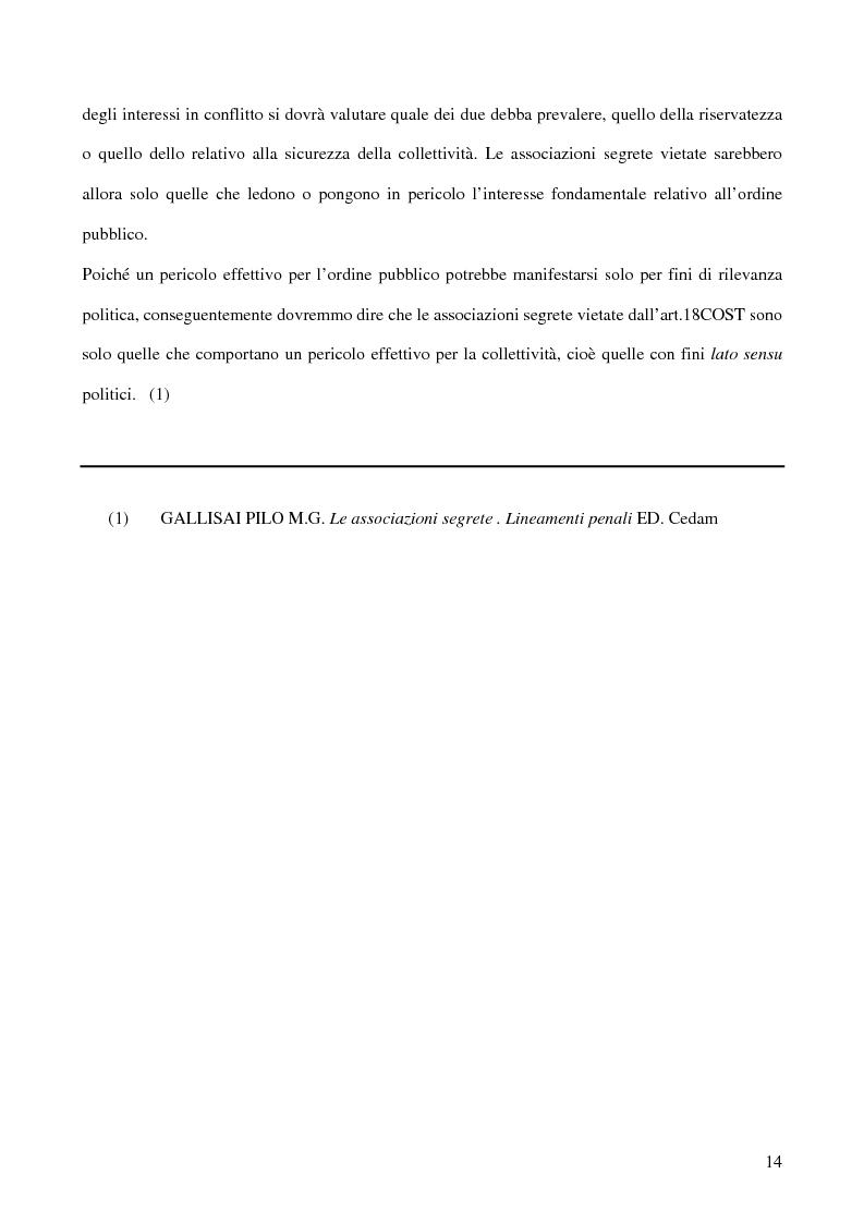 Anteprima della tesi: Associazioni segrete: lineamenti penali (Loggia P2 - Golpe Borghese - Gladio - Archivio Mitrokhin), Pagina 12