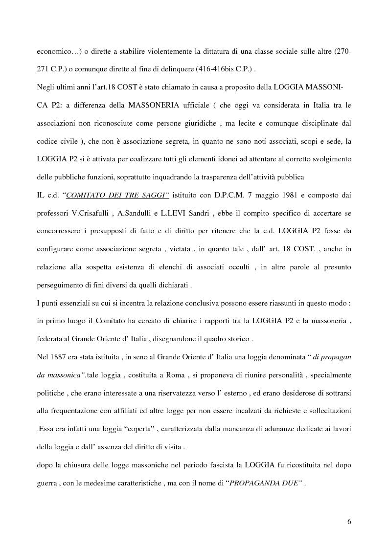 Anteprima della tesi: Associazioni segrete: lineamenti penali (Loggia P2 - Golpe Borghese - Gladio - Archivio Mitrokhin), Pagina 4