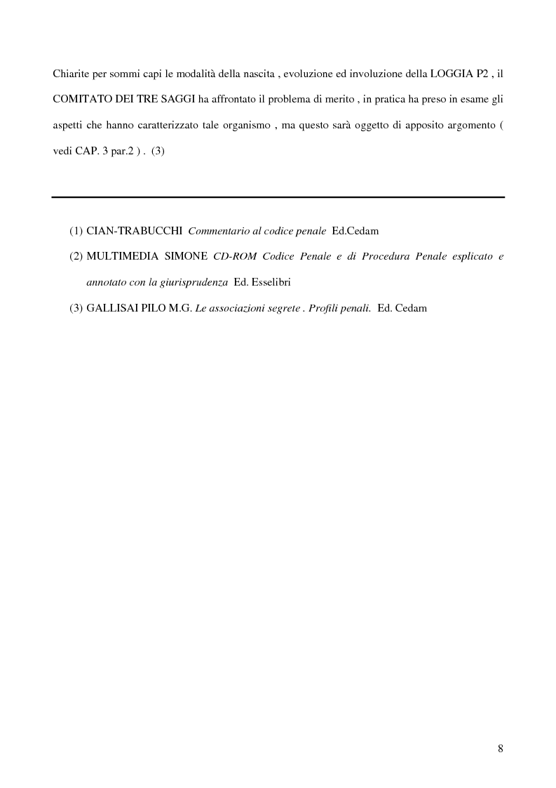 Anteprima della tesi: Associazioni segrete: lineamenti penali (Loggia P2 - Golpe Borghese - Gladio - Archivio Mitrokhin), Pagina 6