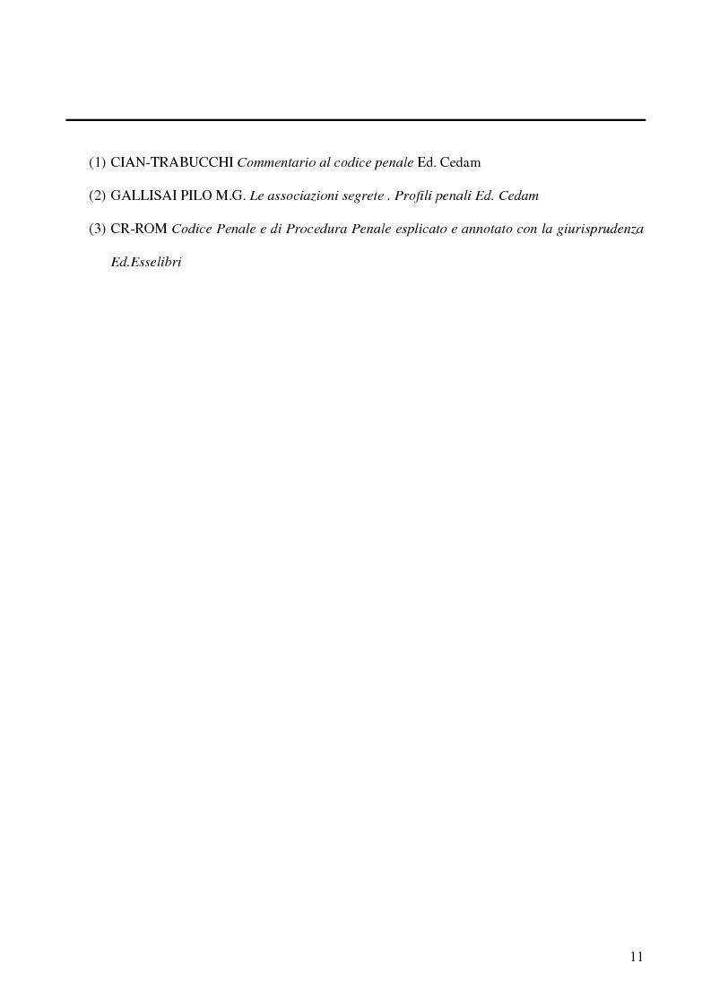 Anteprima della tesi: Associazioni segrete: lineamenti penali (Loggia P2 - Golpe Borghese - Gladio - Archivio Mitrokhin), Pagina 9