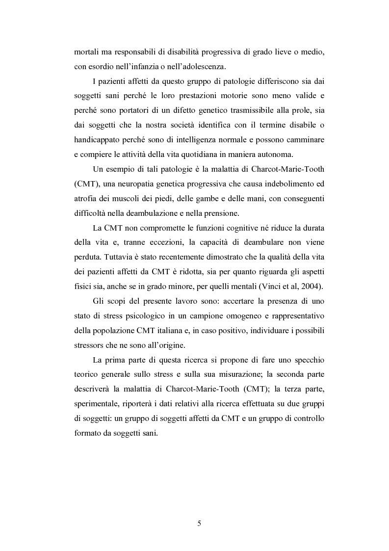 Anteprima della tesi: Lo stress nelle persone disabili affette da neuropatia genetica progressiva: il caso della Charcot-Marie-Tooth, Pagina 3