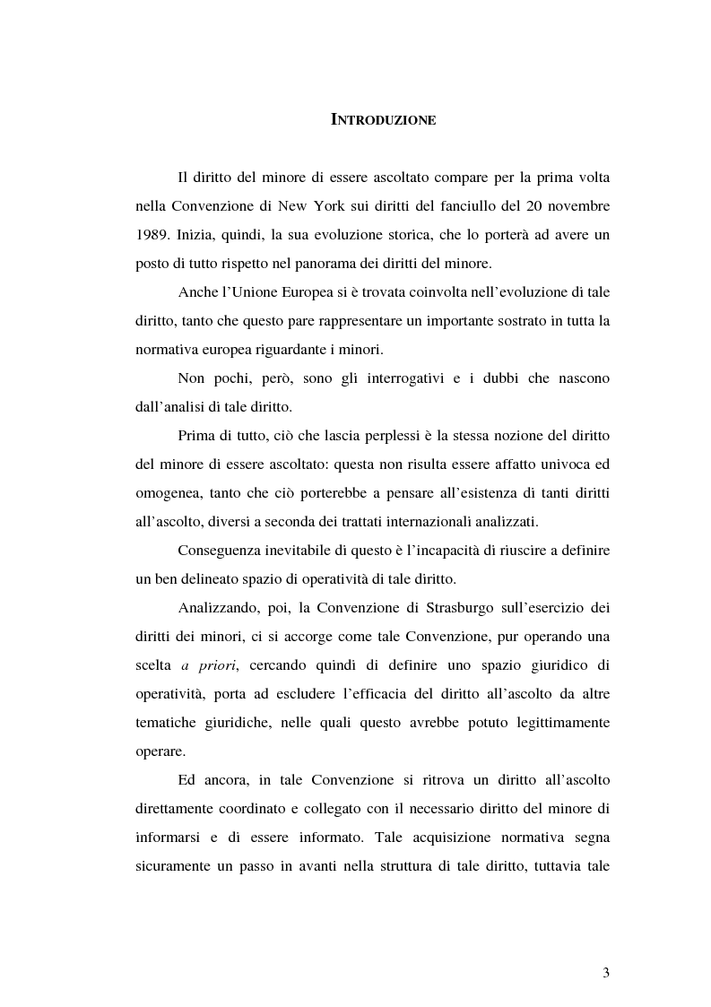 Anteprima della tesi: Il diritto all'ascolto del minore in Unione Europea, Pagina 1