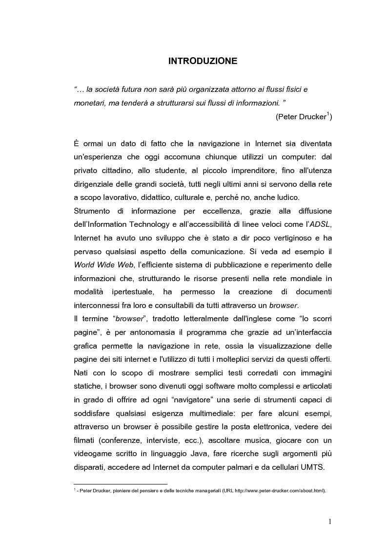 Anteprima della tesi: Siti web e compatibilità con i browser: il sito del gruppo di ricerca eTourism, Pagina 1
