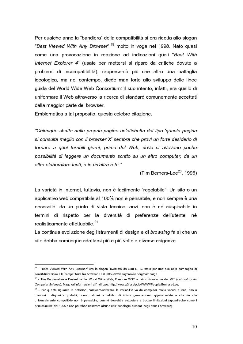 Anteprima della tesi: Siti web e compatibilità con i browser: il sito del gruppo di ricerca eTourism, Pagina 10