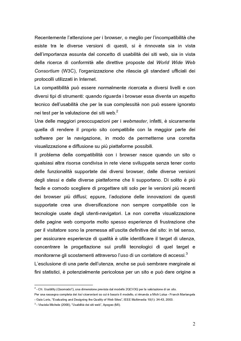 Anteprima della tesi: Siti web e compatibilità con i browser: il sito del gruppo di ricerca eTourism, Pagina 2