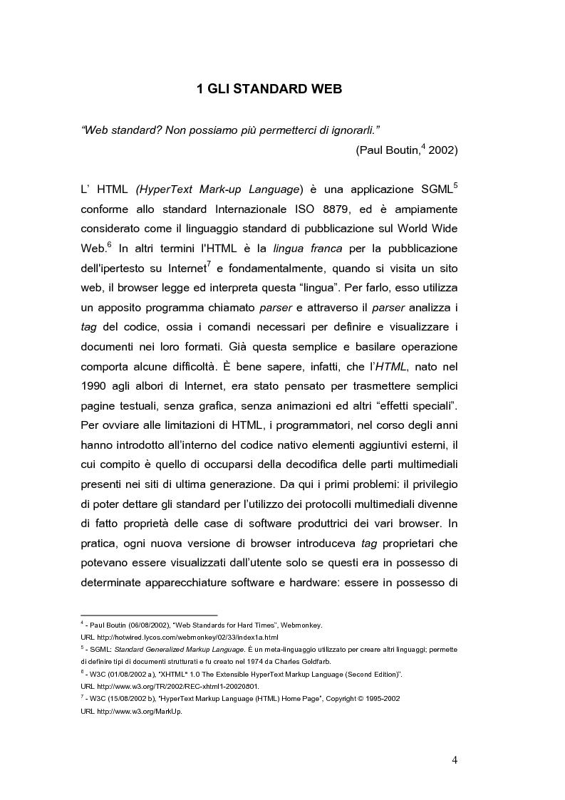 Anteprima della tesi: Siti web e compatibilità con i browser: il sito del gruppo di ricerca eTourism, Pagina 4