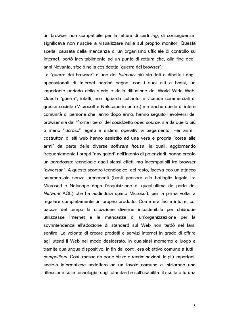 Anteprima della tesi: Siti web e compatibilità con i browser: il sito del gruppo di ricerca eTourism, Pagina 5