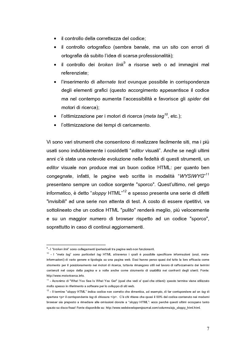 Anteprima della tesi: Siti web e compatibilità con i browser: il sito del gruppo di ricerca eTourism, Pagina 7