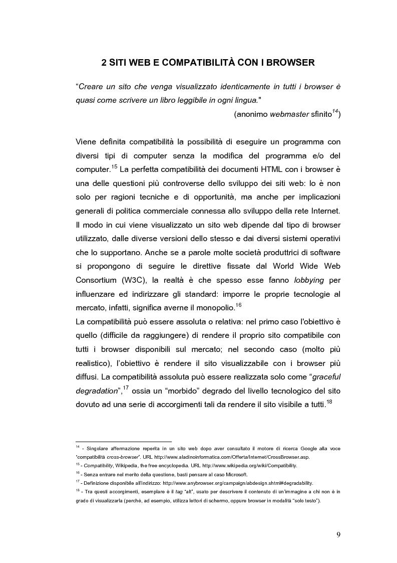 Anteprima della tesi: Siti web e compatibilità con i browser: il sito del gruppo di ricerca eTourism, Pagina 9