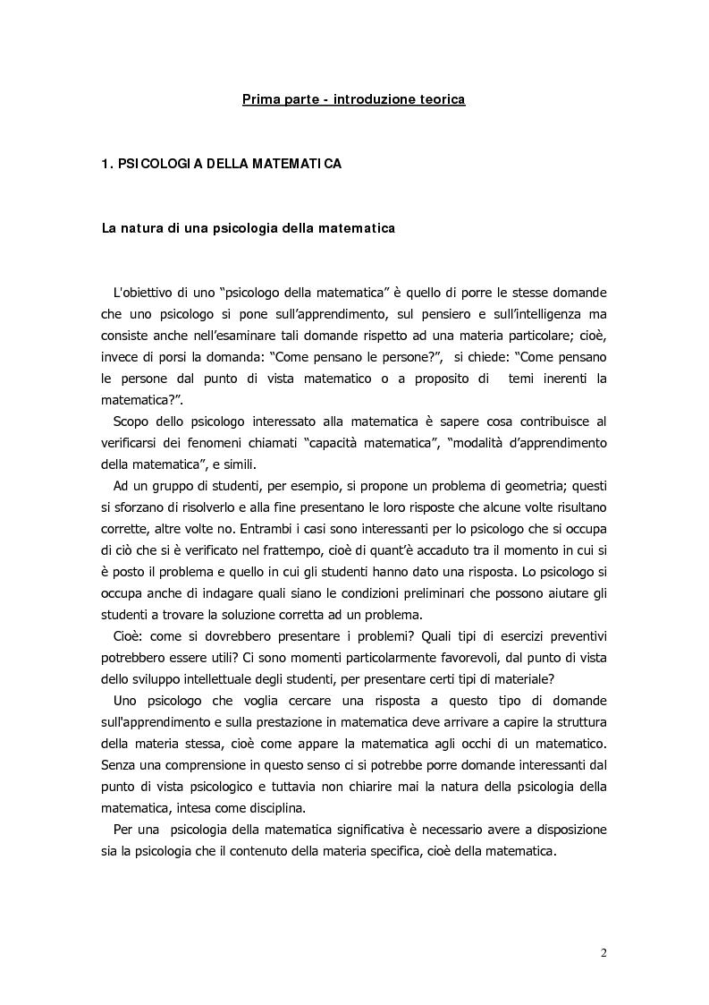 Anteprima della tesi: Il ragionamento matematico nei problemi impossibili, Pagina 1