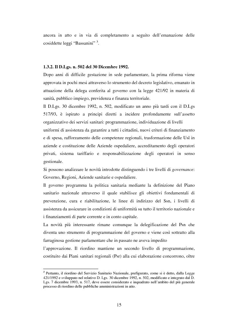 Anteprima della tesi: La politica sanitaria in Italia: tre modelli regionali a confronto, Pagina 12