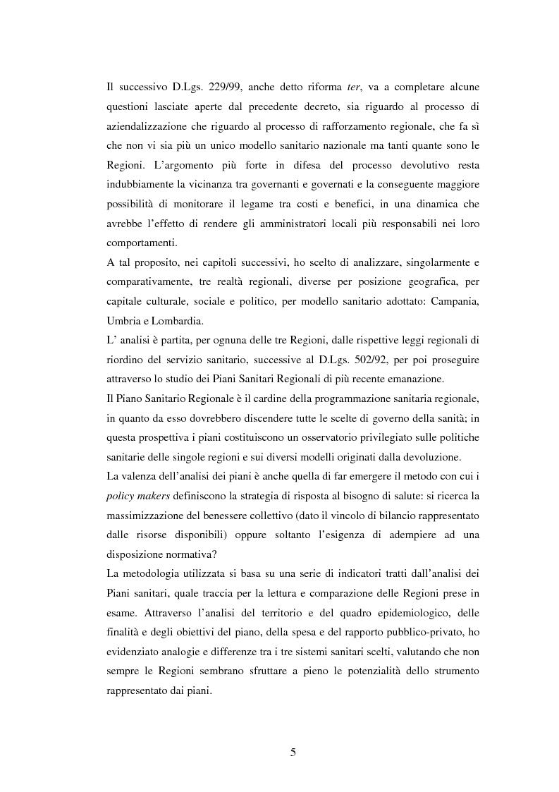 Anteprima della tesi: La politica sanitaria in Italia: tre modelli regionali a confronto, Pagina 2