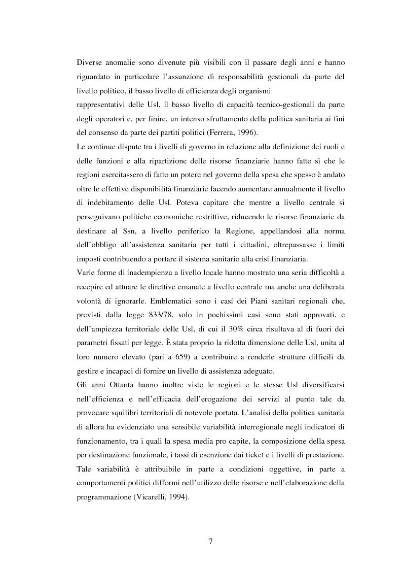 Anteprima della tesi: La politica sanitaria in Italia: tre modelli regionali a confronto, Pagina 4