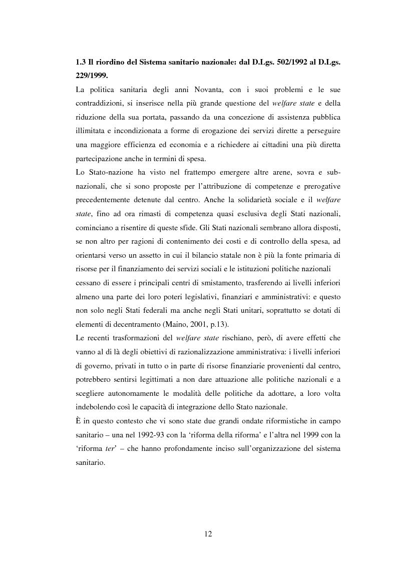 Anteprima della tesi: La politica sanitaria in Italia: tre modelli regionali a confronto, Pagina 9