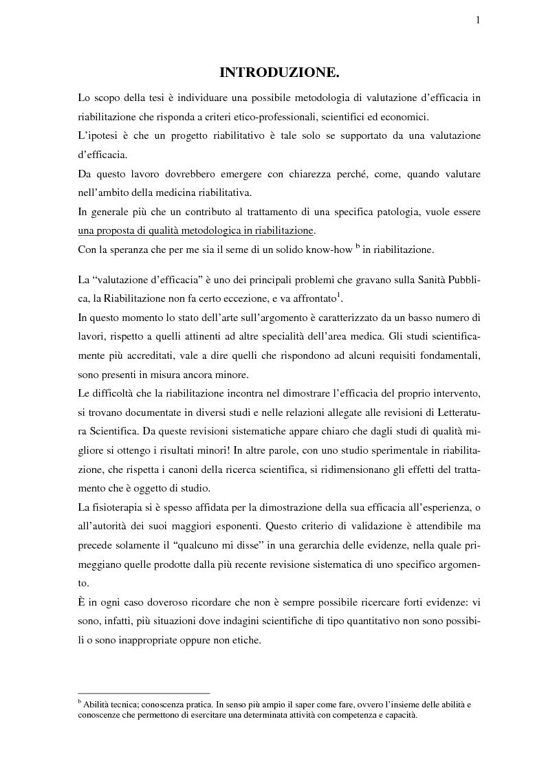 Anteprima della tesi: La riabilitazione basata sulle prove di efficacia, Pagina 1