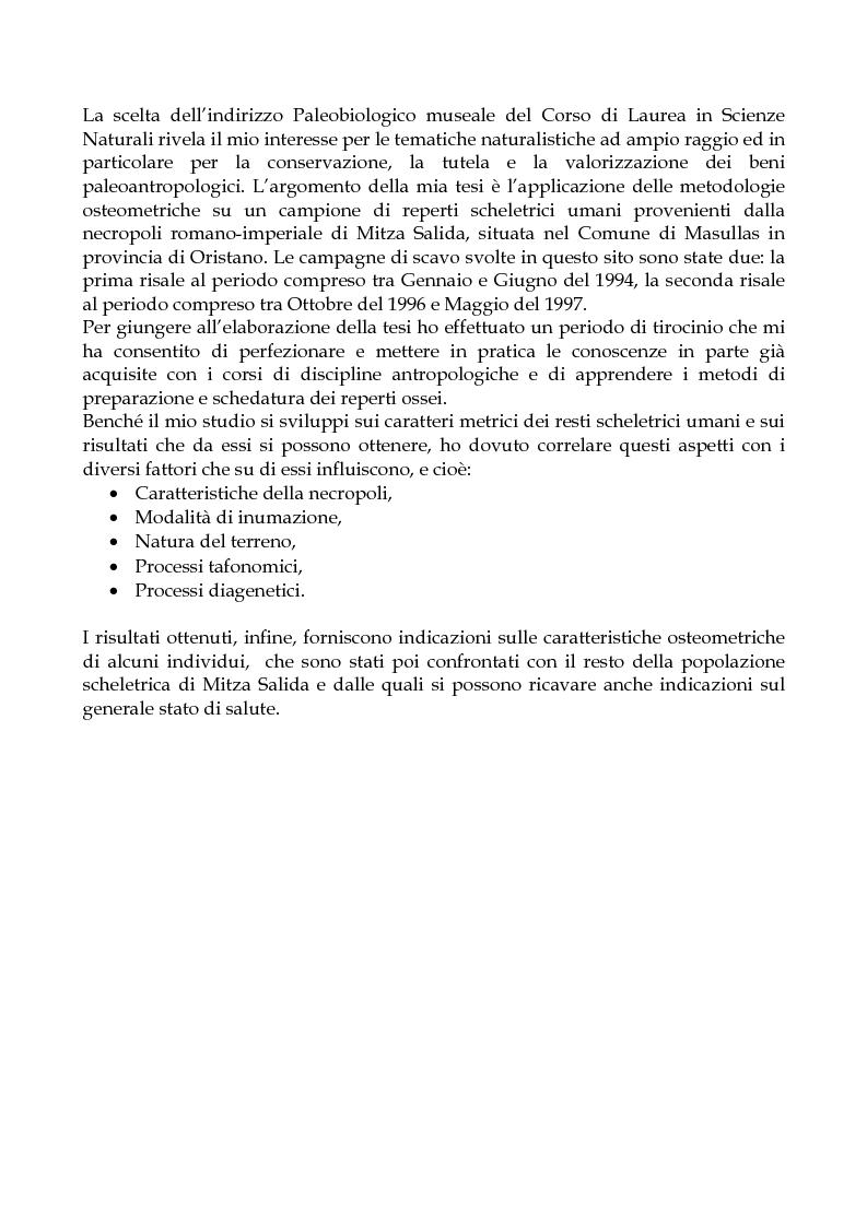 Anteprima della tesi: Analisi osteometrica sui reperti di età Romana della necropoli di Mitza Salida - Masullas (OR), Pagina 1