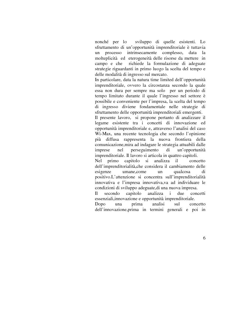 Anteprima della tesi: Innovazione e Opportunità Imprenditoriale: il caso Wi-Max, Pagina 2